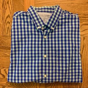 Men's Blue Plaid Button Down Shirt